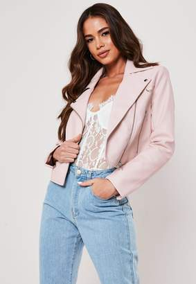 Missguided Pink Ultimate Boxy Faux Leather Biker Jacket