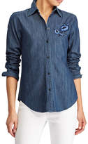 Lauren Ralph Lauren Petite Floral Embroidered Denim Button-Down Shirt