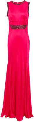 Roberto Cavalli Cutout Crystal-embellished Jersey Gown
