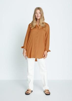 MANGO Violeta BY Flowy long shirt caramel - 10 - Plus sizes
