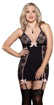 Dreamgirl Plus Size Stretch Lace Fitted Sexy Chemise Set Black
