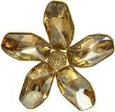 Krustallos Swarovski Crystal Brooch Square Petal Sunflower Design with Ab Crystalized Flower Disk