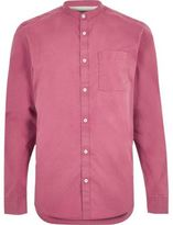 River Island MensWashed red twill grandad shirt
