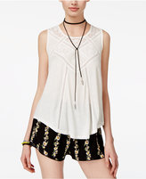 American Rag Juniors' Lace-Trim Textured Tank Top, Only at Macy's