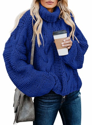 CORAFRITZ Women's Winter Casual Long Sleeve Slouchy Turtleneck Loose Solid Color Cable Knit Sweater Blue
