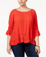 INC International Concepts Plus Size Peasant Top, Only at Macy's