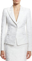 Michael Kors Floral Jacquard Structured Blazer, White