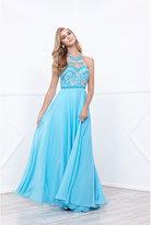 Unique Vintage Aqua Blue Beaded Halter Top Long Dress