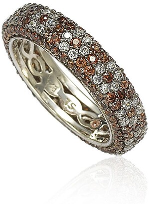 Suzy Levian Sterling Silver CZ Brown & White Flower Eternity Band