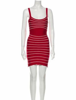 Herve Leger Striped Mini Dress Red