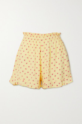 Faithfull The Brand Pampelonne Ruffled Floral-print Crepe Shorts