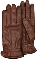 Pineider Men's Brown Deerskin Leather Gloves w/ Cashmere Lining