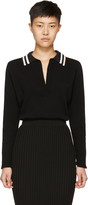 Lanvin Black Long Sleeve Wool Polo