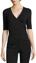 WORTHINGTON Worthington Elbow Sleeve V-Neck Surplice Bodysuit