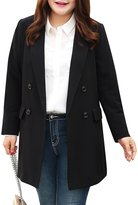MSSHE Women's Double Breasted Blazer Jacket Long Sleeve Pockets Blazer Plus