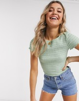 New Look shirred tee in sage