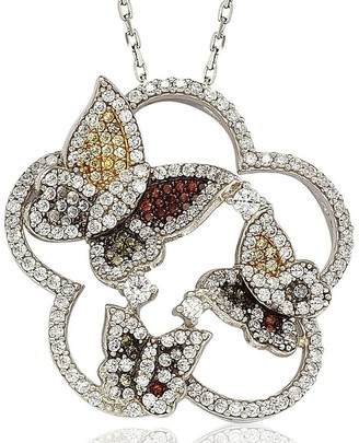 Suzy Levian Suzy L. Sterling Silver Cubic Zirconia Multi-Color Butterfly Pendant - White