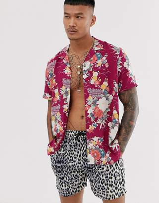 Asos Design DESIGN regular fit shirt in floral print in red