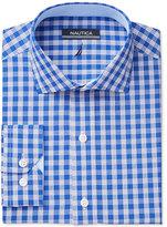 Nautica Men's Classic-Fit Bright Blue White Check Dress Shirt