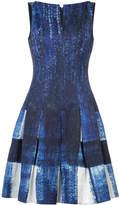 Oscar de la Renta print and pleated dress