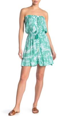 Tiare Hawaii Strapless Button Down Tie Dye Dress
