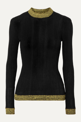 Ganni Two-tone Ribbed Cotton-blend Sweater - Black