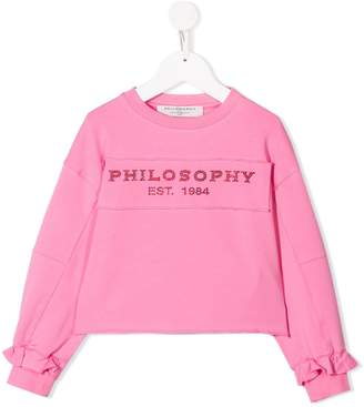 Philosophy di Lorenzo Serafini Kids rhinestone logo sweatshirt