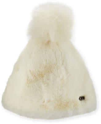 UGG Faux Fur Beanie Hat w/ Pompom