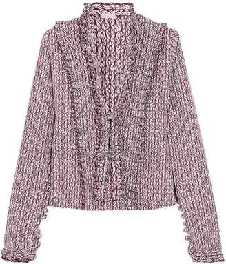 Alaia Ruffle-trimmed Printed Cotton-poplin Blouse