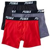 Puma PMTBB Core Tech Performance Boxer Briefs - 3 Pack (Red/Grey/Black S)