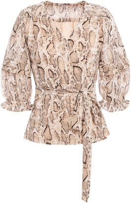 Walter Baker Ruffle-trimmed Snake-print Crepe De Chine Wrap Blouse