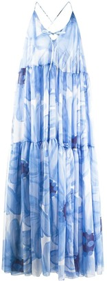 Jacquemus La Robe Mistral Floral Blue Maxi Dress