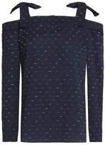 Saloni Cold-Shoulder Fil Coupé Cotton-Blend Seersucker Top