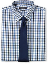 Lands' End Men's Big & Tall Pattern No Iron Supima Pinpoint Buttondown Collar-White/Admiral Blue Stripe