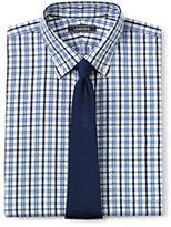 Lands' End Men's Big & Tall Pattern No Iron Supima Pinpoint Buttondown Collar-White/Admiral Blue Stripe