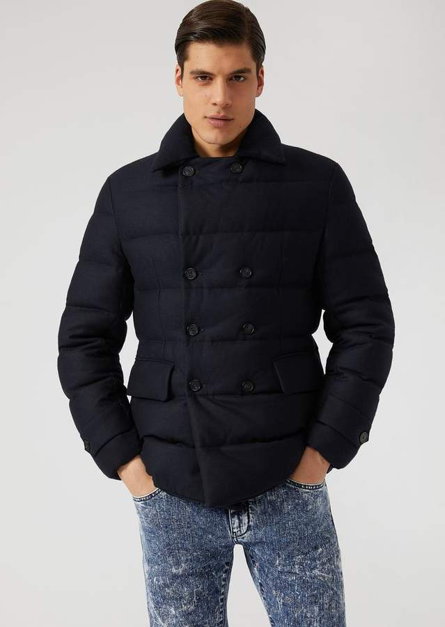 Emporio Armani Double-Breasted Peacoat In Lightweight Padded Jersey With Down