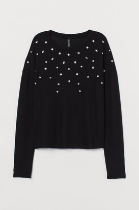 H&M Fine-knit Beaded Sweater