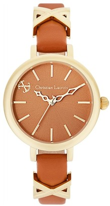 Christian Lacroix Womens Analogue Quartz Watch with Leather Strap CLWE23