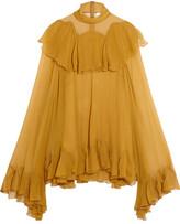 Chloé Ruffled Silk-crepon Turtleneck Blouse - Mustard