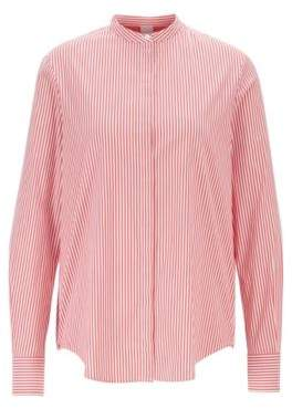 BOSS Relaxed-fit striped blouse with roll-up sleeves