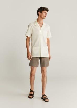 MANGO Regular-fit cotton short sleeve shirt
