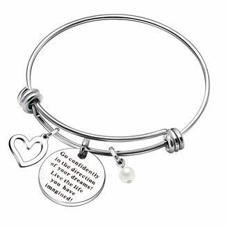 YONGHUI Inspirational Charm Expendable Bangle Bracelets For Women Engraved Go Confidently in the Direction of Your Dreams Live the Life You Have Imagined Birthday Christmas Gifts
