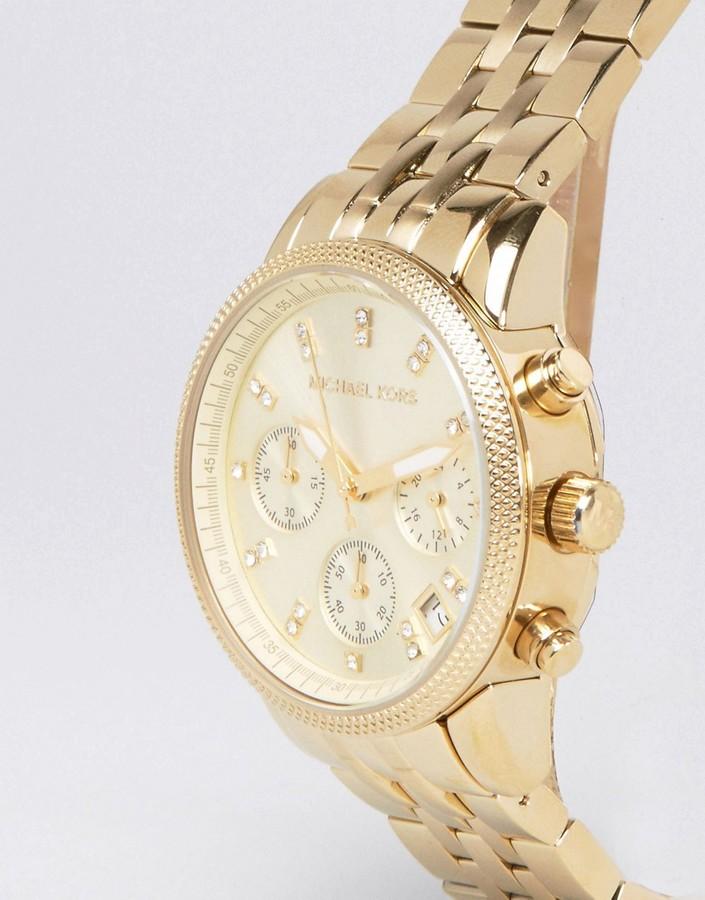 Michael Kors Ritz Glitz Gold Chronograph Watch MK5676