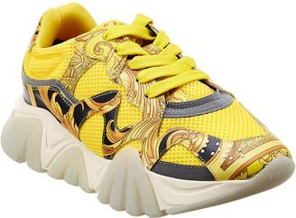 Versace Squalo Baroque Print Leather & Mesh Sneaker