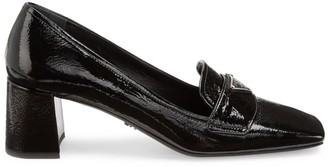 Prada Textured Leather Loafer Pumps