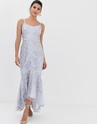Bariano embroidered lace fluted hem midaxi dress in grey