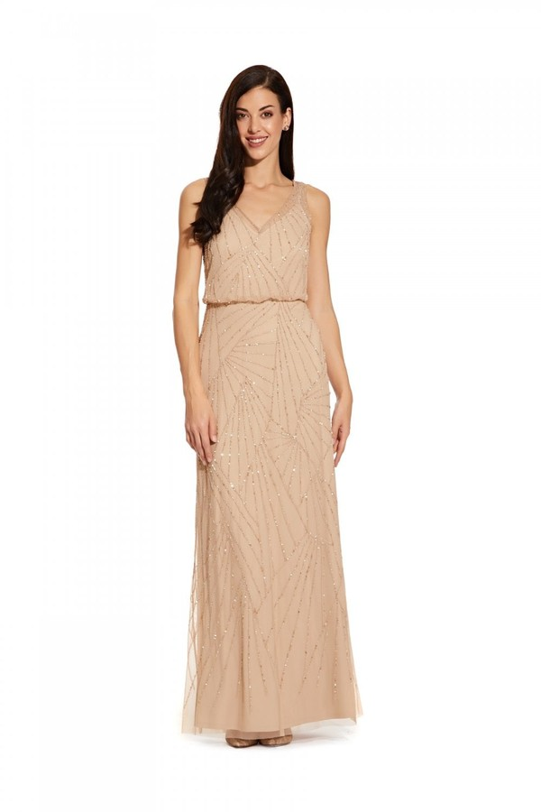 Adrianna Papell Sleeveless Beaded Dress In Champagne/Silver