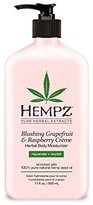 Hempz Herbal Body Moisturizer, Light Pink, Blushing Grapefruit/Raspberry Creme, 17 Fluid Ounce