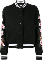 Off-White floral embroidered varsity jacket