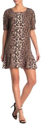 Joie Angeni Leopard Print Puff Sleeve Satin Dress